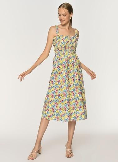 Loves You Gipeli Sırt Dekolteli Poplin Emprime Elbise Sarı
